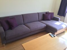 Corylus right handed chaise sofa in J Brown Harley - lavender fabric & Houles Boston plum coloured cushions.