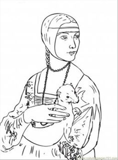 Lady with an Ermine Coloring Page (Leonardo da Vinci)