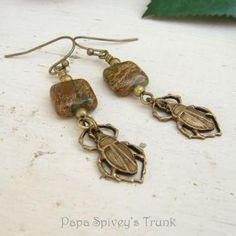 Aqua Terra Jasper and Beetle Earrings 1130492