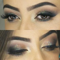 Maquiagem Sirena Glitter - http://www.pausaparafeminices.com/tutorial-make/tutorial-maquiagem-chique-com-glitter-e-esfumado-marrom-e-preto-2/