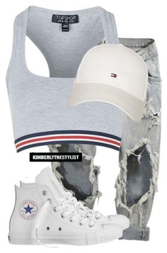 """""""Untitled #2238"""" by whokd ❤ liked on Polyvore featuring Converse, Topshop and Tommy Hilfiger"""