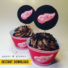 Printable Detroit Red Wings Cupcake Wrappers and Toppers Unique Party Themes, Lollipop Sticks, Paper Plane, Cupcake Wrappers, Detroit Red Wings, Party Printables, Planes, Party Supplies, Birthdays