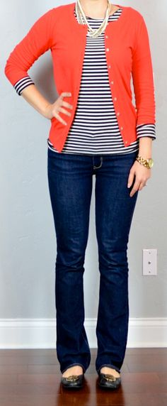 outfit post: red cardigan, striped shirt, bootcut jeans, black flats