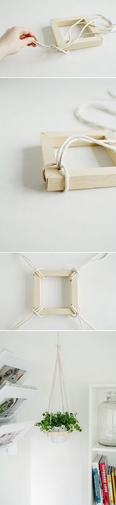Do-it-yourself frame for hanging planters. Great idea for a home office or a kitchen.