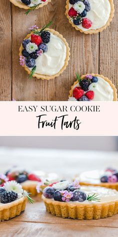 Easy Sugar Cookie Fruit Tarts These Sugar Cookie Fruit Tarts are super easy and dont require many tools or ingredients Mini Desserts, Easy Desserts, Dessert Recipes, Easy Delicious Desserts, Tea Party Desserts, Oreo Desserts, Easter Recipes, Plated Desserts, Dinner Recipes