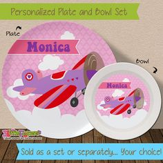 Personalized Airplane Plate and Bowl Set - Personalized Melamine Children Plate and Cereal Bowl - Kids Dishes for Mealtime - Girl Airplane