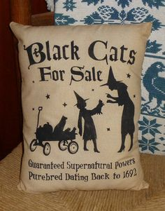 Black Cats for Sale Witch Prim Country Primitive Halloween Fall Pet Pillow Decor   eBay