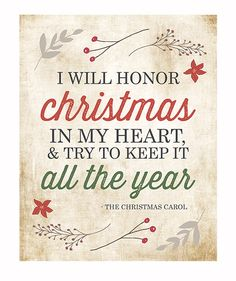 Christmas Wall Art Typography Print / I Will Honor Christmas Charles Dickens Christmas Carol Quote / Holiday Decor / Red Green Retro Vintage...