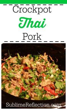 Clean Eating Crockpot Thai Pork - Sublime Reflection Pork Recipes, Slow Cooker Recipes, Asian Recipes, Crockpot Recipes, Cooking Recipes, Healthy Recipes, Healthy Dinners, Protein Recipes, Weeknight Dinners