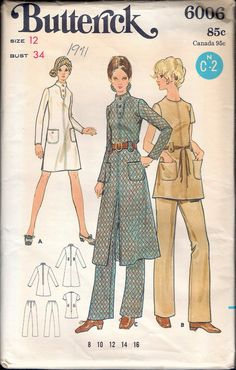 "Vintage 1971 Butterick 6006 Retro Dress & Pants Sewing Pattern Size 12 Bust 34"" UNCUT by Recycledelic1 on Etsy"