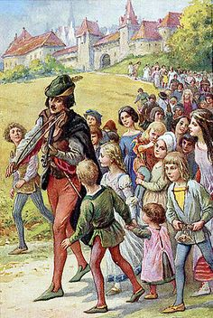 Brothers Grimm, The Pied Piper of Hamelin, Illustration by Oskar Herrfurth, Publisher Uvachrom Society for Color Photography in Munich O Grimm, Classic Fairy Tales, Fable, Brothers Grimm, Vintage Fairies, Grimm Fairy Tales, Fairytale Art, Fairytale Fantasies, Children's Book Illustration