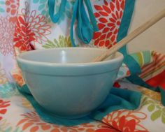 i want the whole collection of vintage retro small teal pyrex mixing bowls. by alsredesignvintage, $6.00