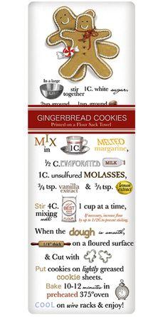 Holiday Gingerbread Recipe 100% Cotton Flour Sack Dish Towel Tea Towel
