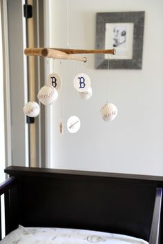 baseball mobile // baby nursery // designed by Marianne Strong Interiors