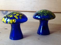 Vintage Harrods Glass Mushrooms Blue Yellow Mint Label Set of 2 by TheTravelingTwins on Etsy