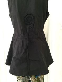 Stunning-CHAMPAGNE-lagenlook-peplum-RIDING-BLACK-layering-jacket-L-XL