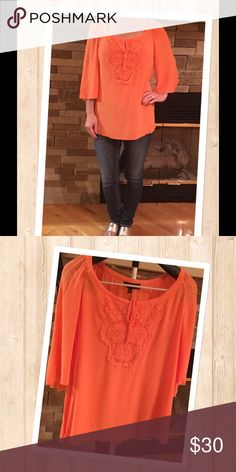 Boho Chic Melissa Paige Top Flows, boho chic with embroidered top detail with string tie in a beautiful fall apricot color.  NWT.  Make an offer!!! Melissa Paige Tops Blouses