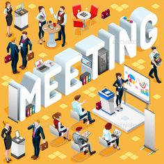 Meeting Isometric People 3D Icon Set Vector Illustration by aurielaki Meeting Group of Diverse Isometric Business People. 3D meeting infograph crowd with standing walking casual people icon set. Confe