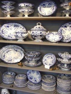 Blue and white vintage French dishes - My French Country Home