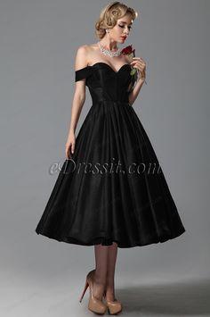 Vestido de Fiesta de Longitud de Té Vintage Escote de Corazón Hombro (04151600)