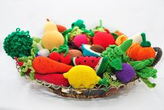 35 Crochet Play Food Patterns. A Book of Crochet Patterns of Fruit and Vegetable from Apple to Grapes to Pear to Watermelon to Zucchini