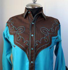 Western Shirt_Rodeo Shirt_Cowboy Shirt_Men's by GoldenBeeAntiques