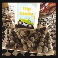 Monster Truck Birthday dark chocolate dipped pretzel rods...'dipsticks'