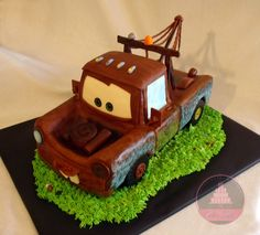 I want to have a CARS themed birthday for McKinley this year with a focus on Mater. Love this cake! Need a mold. Disney Cars Cake, Disney Cakes, Tow Mater Cake, 3d Cakes, Cake Board, Just Cakes, Take The Cake, Diy Cake, Cake Tutorial