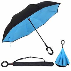 Double Layer Inverted Umbrella Cars Reverse folding Umbrella Windproof UV Protection Big Straight Umbrella for Car Rain Sun Outdoor With CShaped Handle Travel Umbrella Sky Blue * Want additional info? Click on the image. Note:It is Affiliate Link to Amazon.