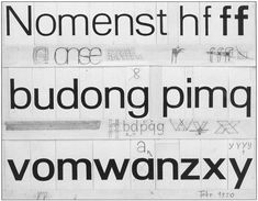 First sketches for Univers by Adrian Frutiger