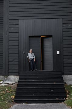 The New Sanctuary: Inside a Curator's Haven on the Coast of Maine, Ikea Kitchen Included – Remodelista McNeil devant son sanctuaire réhabilité. Black Exterior Doors, Black House Exterior, Casa Wabi, Garage Door Design, Garage Doors, Shed Homes, Patio Roof, House Painting, House Colors