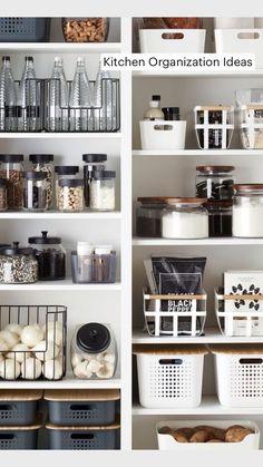 Kitchen Pantry Design, Kitchen Organization Pantry, Diy Kitchen Storage, Home Organization Hacks, Home Decor Kitchen, New Kitchen, Home Kitchens, Organized Kitchen, Kitchen Hacks