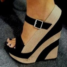 Beige and black striped wedges