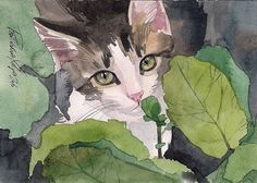 Print of Watercolor Painting Tabby Cat Tabby and White Cute Stripped Kitty Giclee