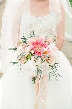 ombre pink wedding bouquet by Bella Bloom Floral Designs