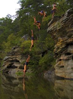 Cliff diving at Lake Nicol, Tuscaloosa, Alabama.