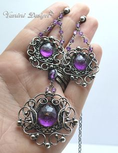 Baroque-Fine999/sterling silver and Purple amethyst necklace by VaniniDesign…
