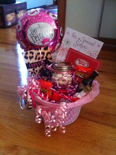 Happy Birthday Gift Basket. I made this for my sister but you can pretty much make it for any girl. #giftbaskets #birthdaygirl
