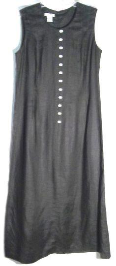 New TALBOTS #Black 100% Linen Long Dress - Shell Buttons - Back Split/Vent -18 #Talbots #Sheath #Dress #18