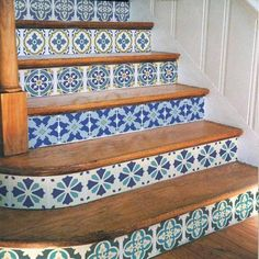 Portuguese Tile Stencil Set is great for stenciled stair risers via Cutting Edge Stencils http://www.cuttingedgestencils.com/portuguese-tile-stencils-patchwork-tiles-stencil-azulejos.html