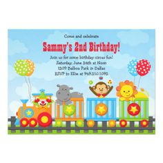 Kids Circus Train Birthday Party Invitation