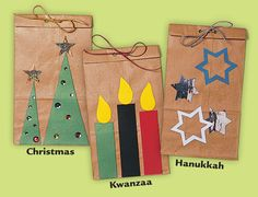 Decorate brown paper bags to add a personal touch to your gift wrapping. This is a fun and easy holiday craft for kids to make!