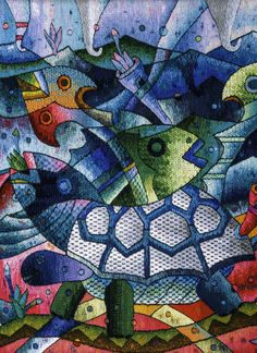 """Tapestry Detail, Handwoven Peruvian Tapestry by Maxmio Laura """"Abundance Fruit from the Sea IV"""" 120 x 120 cm, Tapestry Art"""