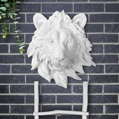 The Mini Saharan in White - Faux Lion Head Mounted Fauxidermy Decor Artative Ceramic Fake Plastic Re Chic Living Room Decor, Farmhouse Decor, Metal Wall Decor, Rustic Decor, Rustic Metal Decor, Metal Tree Wall Art, Shabby Chic Decor Bedroom, Faux Taxidermy Decor, Rustic Wall Clocks