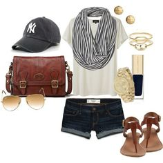 Need: Bag, Hat, Shoes. cute out and about outfit or day at the baseball game