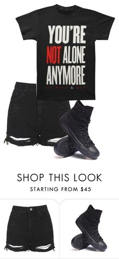 """Untitled #524"" by bands-are-my-savior ❤ liked on Polyvore featuring Topshop and Converse"