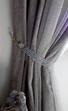 FREE SHIPPPING Set of 2 of Bohemian crystals tiebacks, long 4 strands decorative AB clear curtain holders, luxury home decor Curtain Wall Hooks, Curtain Holder, Curtain Styles, Curtain Designs, Curtains Living, Drapes Curtains, Luxury Home Decor, Luxury Homes, Curtain Inspiration