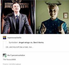 vs Devil - Now we know why Sherlock said he's not an Angel.Angel vs Devil - Now we know why Sherlock said he's not an Angel. Sherlock Fandom, Sherlock John, Sherlock Holmes Bbc, Moriarty, Sherlock Bbc Funny, Sherlock Holmes Benedict Cumberbatch, Martin Freeman, The Paradise Bbc, Hunger Games