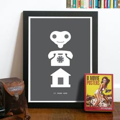E.T. Movie Art Poster Print illustrated in Pictograms in Dark Grey - ET PHONE HOME - size A3 print Poster Art, a classic movie line Poster. $21.00, via Etsy.