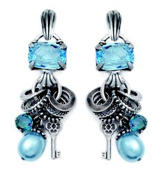 Contemporary aquamarine charm earrings with lustrous light blue pearls, Swarovski Crystals and burnished silver textured rings Clip-on's are detachable. Jewelry Ideas, Jewelry Design, Designer Jewellery, Blue Pearl, Swarovski Crystals, Jewelery, Light Blue, Charmed, Drop Earrings